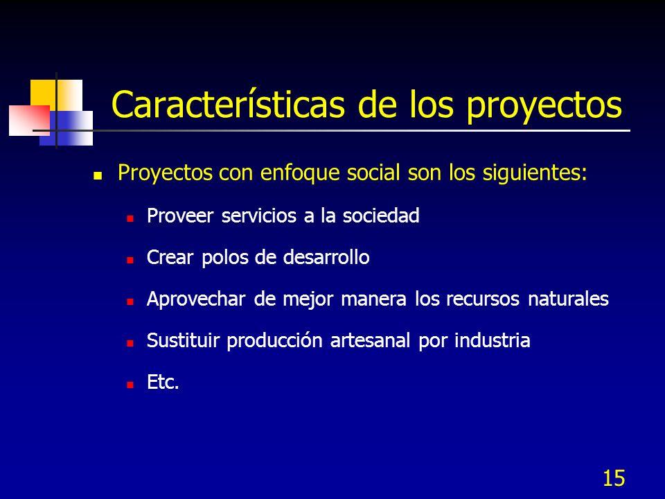 15 Características de los proyectos Proyectos con enfoque social son los siguientes: Proveer servicios a la sociedad Crear polos de desarrollo Aprovec