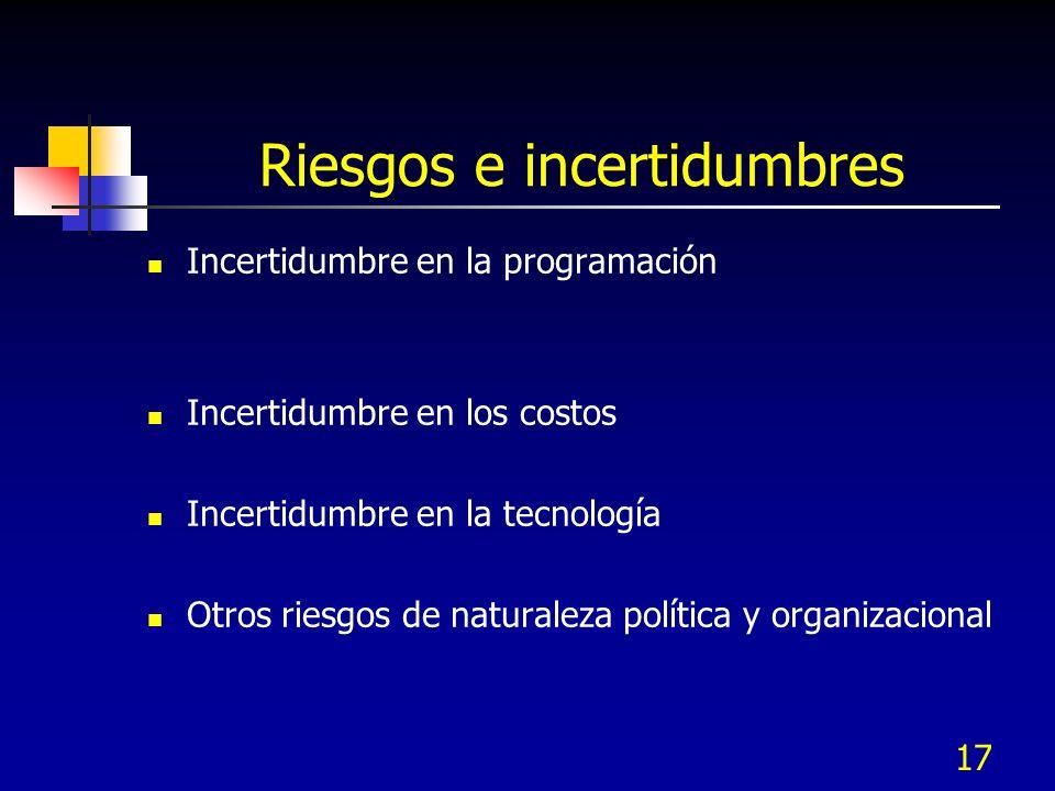 17 Riesgos e incertidumbres Incertidumbre en la programación Incertidumbre en los costos Incertidumbre en la tecnología Otros riesgos de naturaleza po