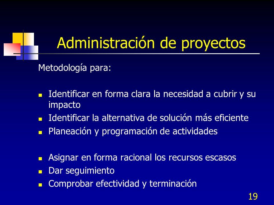 19 Administración de proyectos Metodología para: Identificar en forma clara la necesidad a cubrir y su impacto Identificar la alternativa de solución