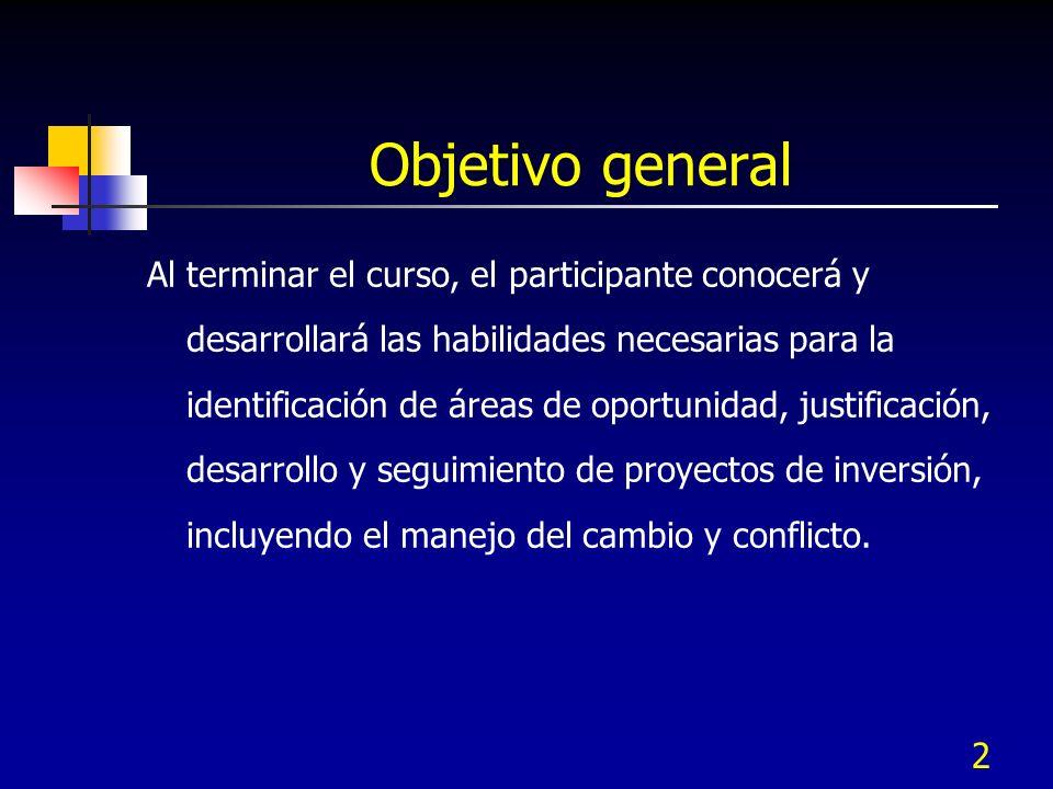 2 Objetivo general Al terminar el curso, el participante conocerá y desarrollará las habilidades necesarias para la identificación de áreas de oportun