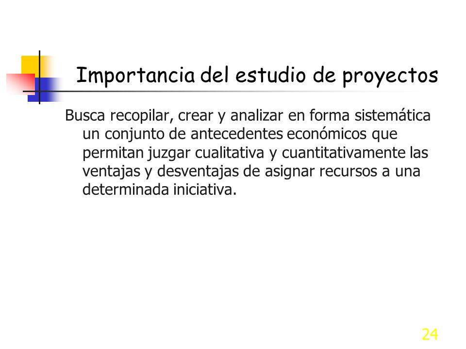 24 Importancia del estudio de proyectos Busca recopilar, crear y analizar en forma sistemática un conjunto de antecedentes económicos que permitan juz