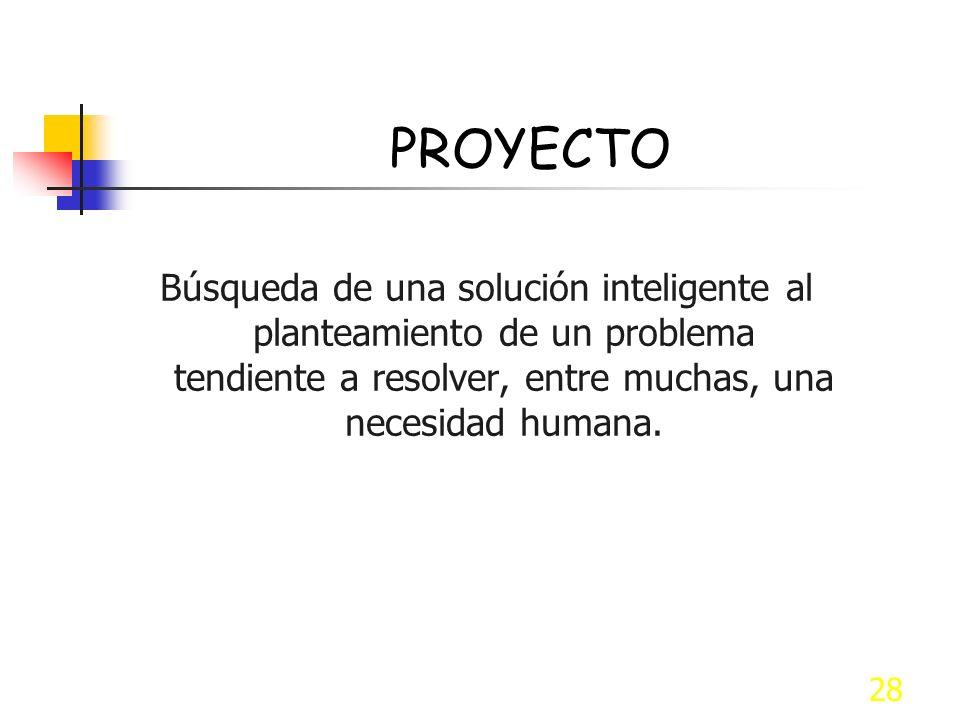 28 PROYECTO Búsqueda de una solución inteligente al planteamiento de un problema tendiente a resolver, entre muchas, una necesidad humana.