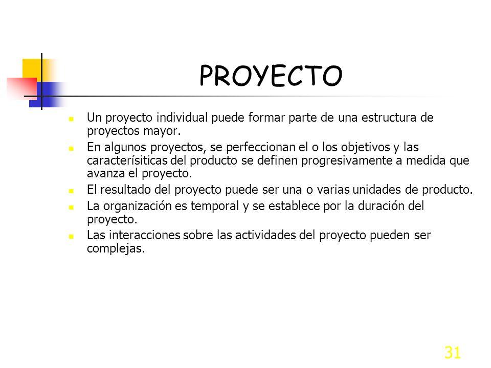 31 PROYECTO Un proyecto individual puede formar parte de una estructura de proyectos mayor. En algunos proyectos, se perfeccionan el o los objetivos y