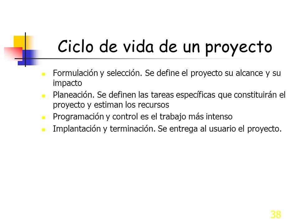 38 Ciclo de vida de un proyecto Formulación y selección. Se define el proyecto su alcance y su impacto Planeación. Se definen las tareas específicas q