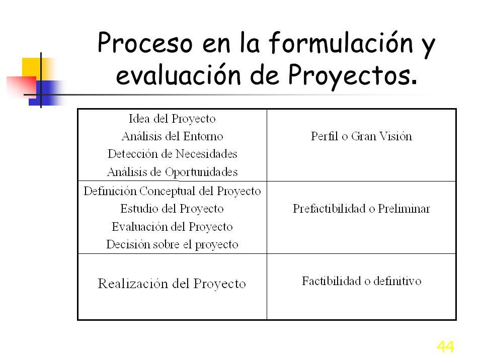 44 Proceso en la formulación y evaluación de Proyectos.