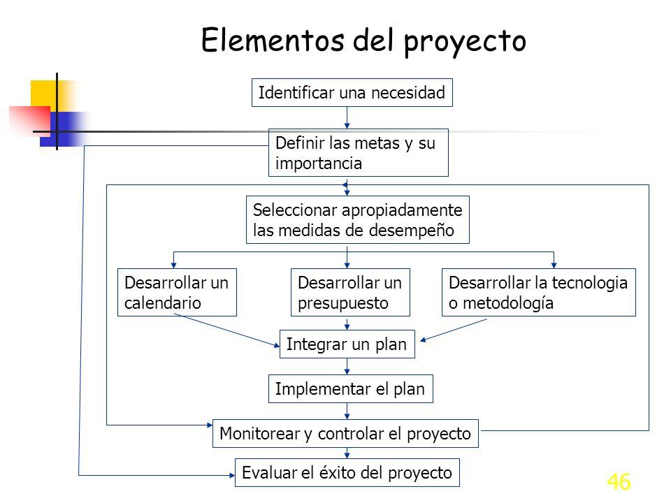 46 Elementos del proyecto Identificar una necesidad Definir las metas y su importancia Seleccionar apropiadamente las medidas de desempeño Desarrollar