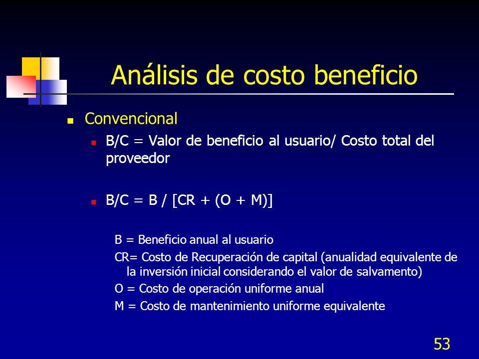 53 Análisis de costo beneficio Convencional B/C = Valor de beneficio al usuario/ Costo total del proveedor B/C = B / [CR + (O + M)] B = Beneficio anua