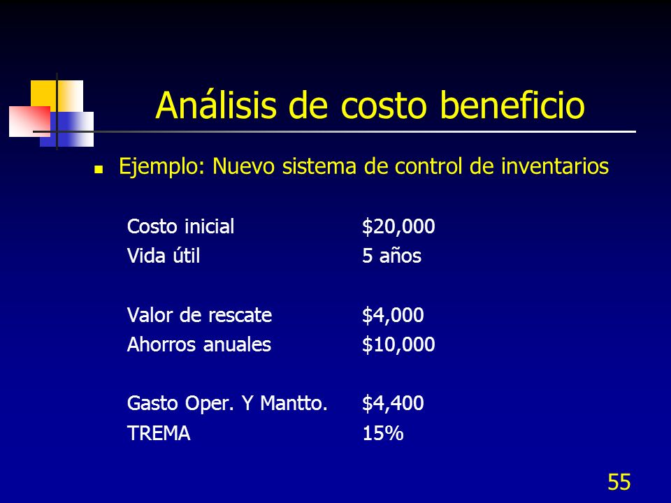 55 Análisis de costo beneficio Ejemplo: Nuevo sistema de control de inventarios Costo inicial $20,000 Vida útil5 años Valor de rescate$4,000 Ahorros a