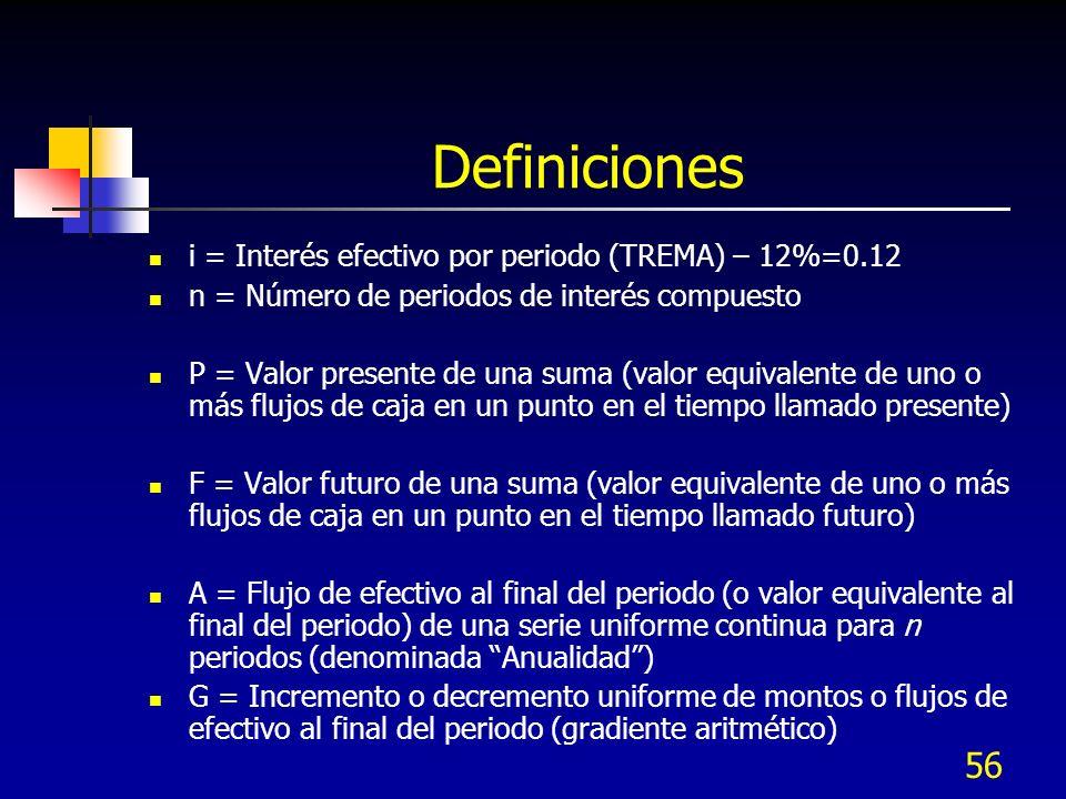 56 Definiciones i = Interés efectivo por periodo (TREMA) – 12%=0.12 n = Número de periodos de interés compuesto P = Valor presente de una suma (valor