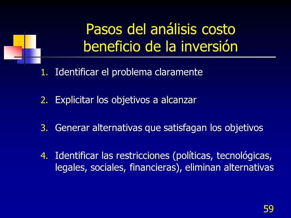 59 Pasos del análisis costo beneficio de la inversión 1. Identificar el problema claramente 2. Explicitar los objetivos a alcanzar 3. Generar alternat