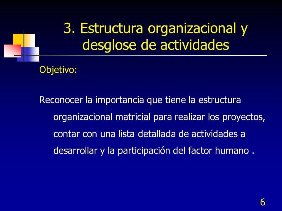 6 3. Estructura organizacional y desglose de actividades Objetivo: Reconocer la importancia que tiene la estructura organizacional matricial para real