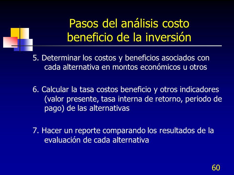 60 Pasos del análisis costo beneficio de la inversión 5. Determinar los costos y beneficios asociados con cada alternativa en montos económicos u otro