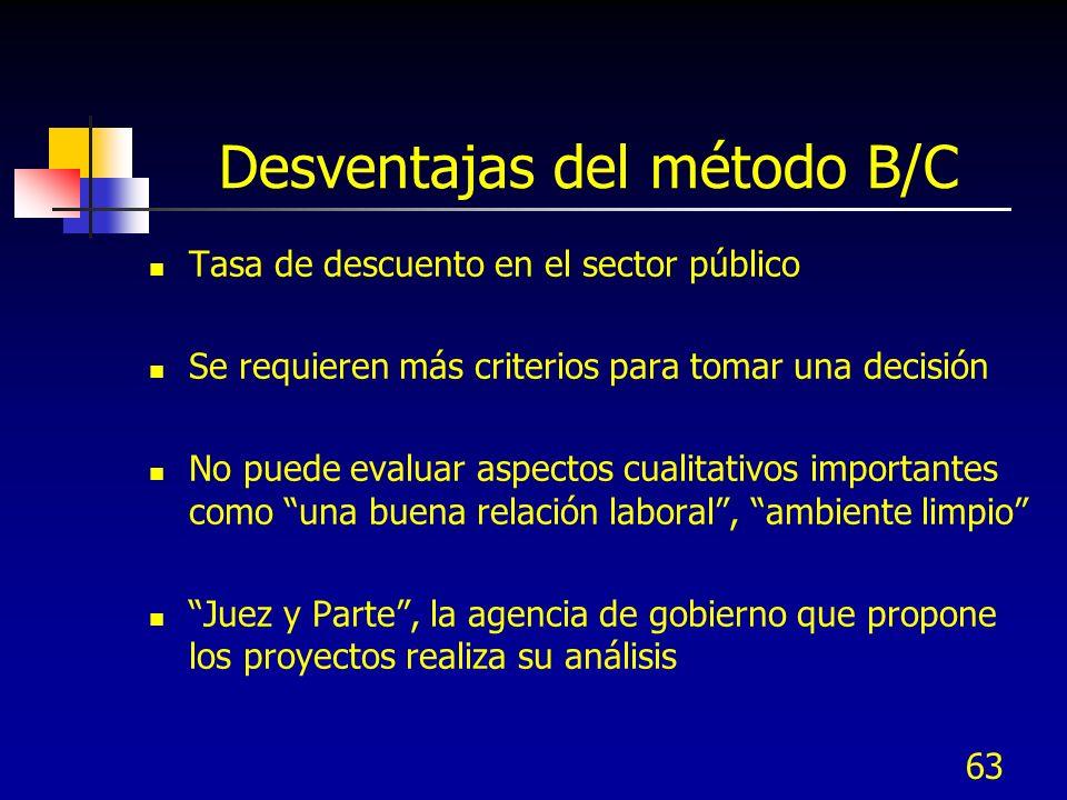 63 Desventajas del método B/C Tasa de descuento en el sector público Se requieren más criterios para tomar una decisión No puede evaluar aspectos cual