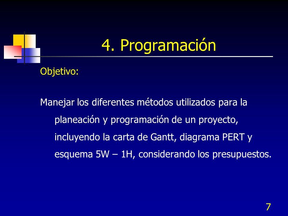 7 4. Programación Objetivo: Manejar los diferentes métodos utilizados para la planeación y programación de un proyecto, incluyendo la carta de Gantt,