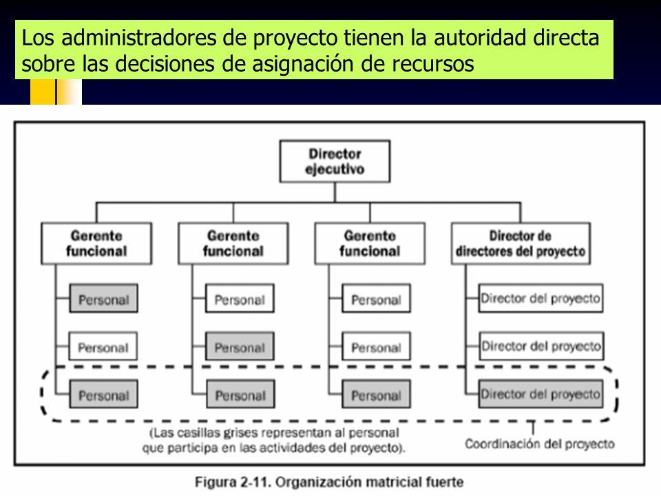 91 Los administradores de proyecto tienen la autoridad directa sobre las decisiones de asignación de recursos