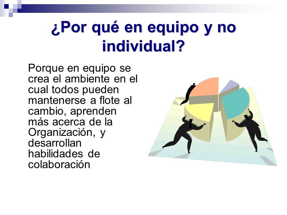 ¿Por qué en equipo y no individual? Porque en equipo se crea el ambiente en el cual todos pueden mantenerse a flote al cambio, aprenden más acerca de