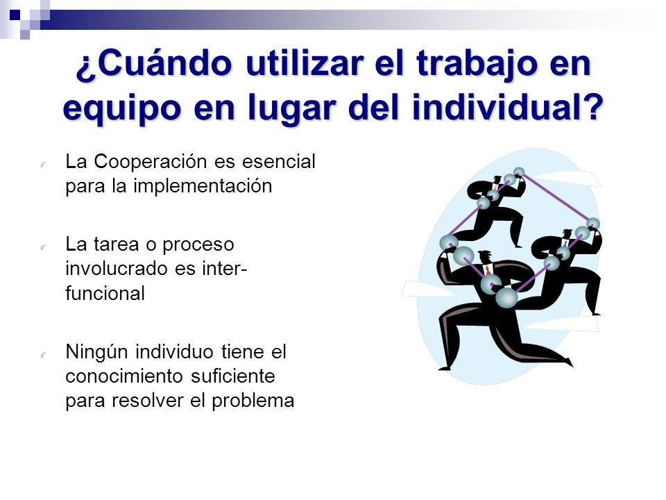 ¿Cuándo utilizar el trabajo en equipo en lugar del individual? La Cooperación es esencial para la implementación La tarea o proceso involucrado es int