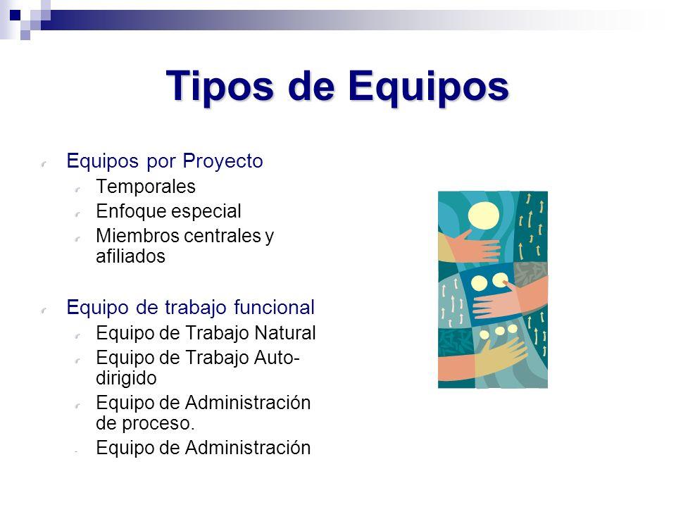 Tipos de Equipos Equipos por Proyecto Temporales Enfoque especial Miembros centrales y afiliados Equipo de trabajo funcional Equipo de Trabajo Natural