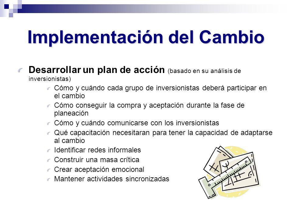 Desarrollar un plan de acción (basado en su análisis de inversionistas) Cómo y cuándo cada grupo de inversionistas deberá participar en el cambio Cómo