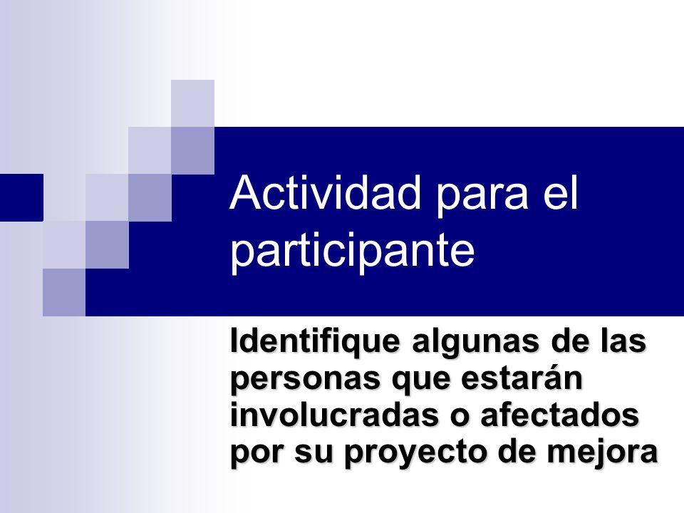 Actividad para el participante Identifique algunas de las personas que estarán involucradas o afectados por su proyecto de mejora