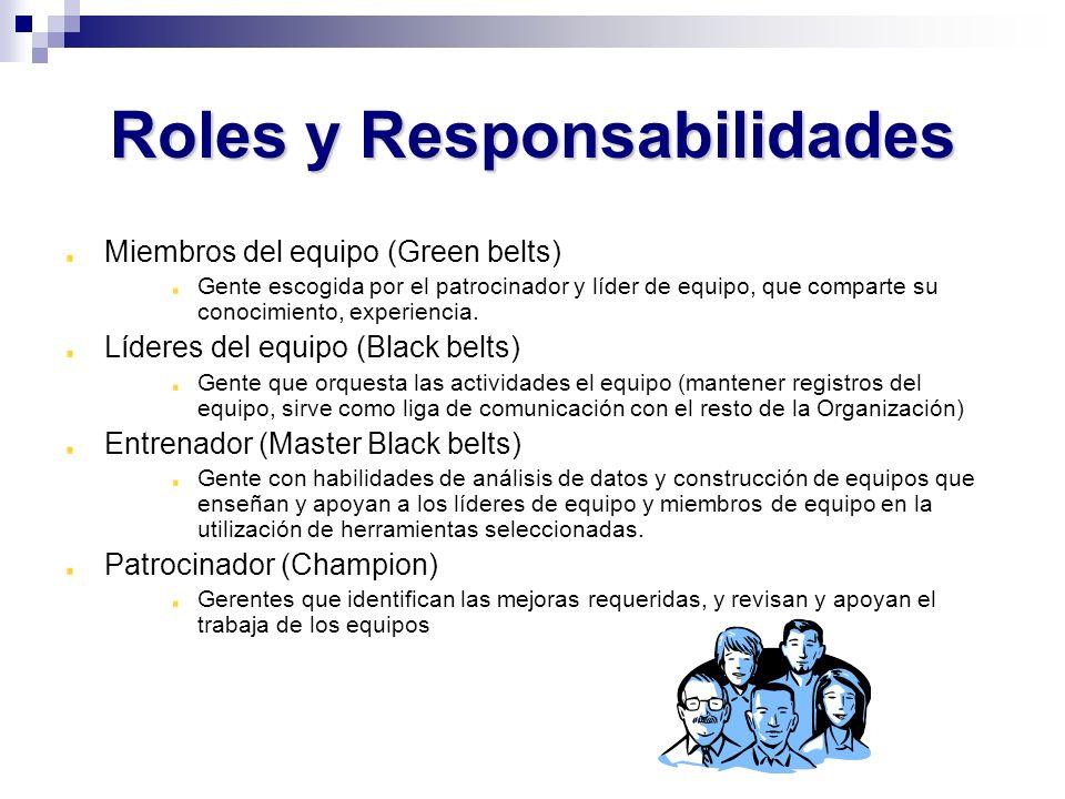 Roles y Responsabilidades Miembros del equipo (Green belts) Gente escogida por el patrocinador y líder de equipo, que comparte su conocimiento, experi