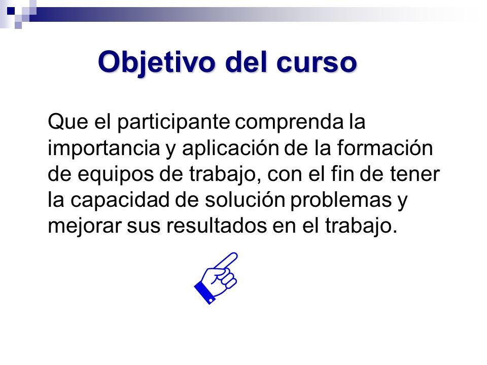Objetivo del curso Que el participante comprenda la importancia y aplicación de la formación de equipos de trabajo, con el fin de tener la capacidad d