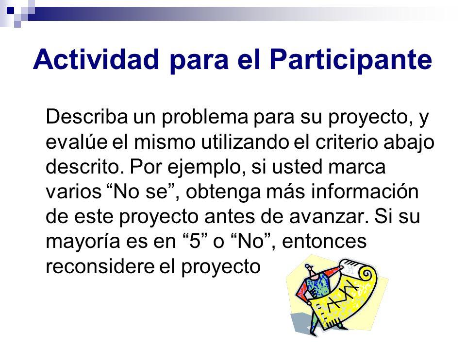 Actividad para el Participante Describa un problema para su proyecto, y evalúe el mismo utilizando el criterio abajo descrito. Por ejemplo, si usted m