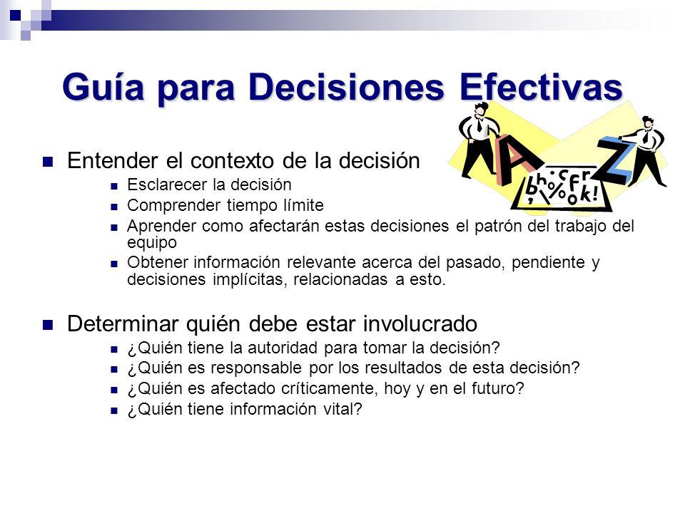 Guía para Decisiones Efectivas Entender el contexto de la decisión Esclarecer la decisión Comprender tiempo límite Aprender como afectarán estas decis