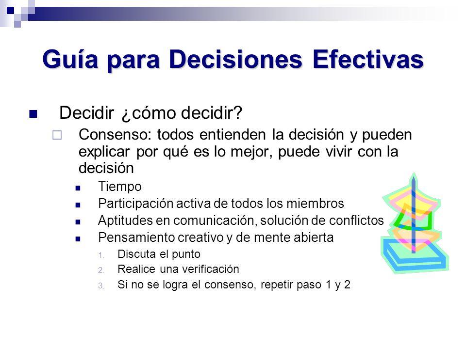 Guía para Decisiones Efectivas Decidir ¿cómo decidir? Consenso: todos entienden la decisión y pueden explicar por qué es lo mejor, puede vivir con la