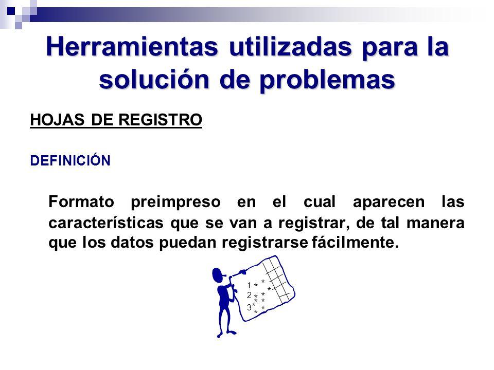 Herramientas utilizadas para la solución de problemas HOJAS DE REGISTRO DEFINICIÓN Formato preimpreso en el cual aparecen las características que se v