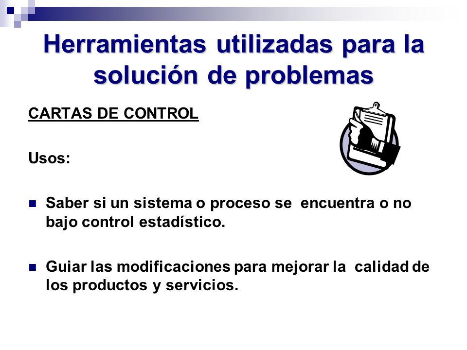Herramientas utilizadas para la solución de problemas CARTAS DE CONTROL Usos: Saber si un sistema o proceso se encuentra o no bajo control estadístico
