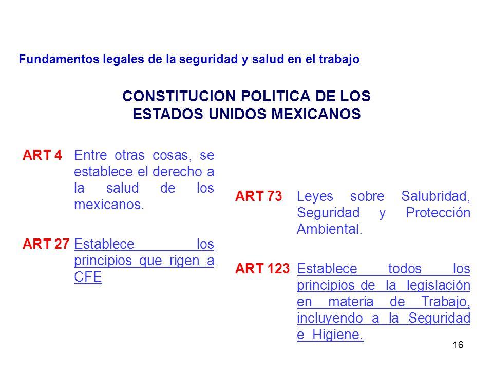 15 CONSTITUCION POLITICA DE LOS ESTADOS UNIDOS MEXICANOS LEY FEDERAL DEL TRABAJO REGLAMENTO FEDERAL DE SEG E HIG. Y MEDIO AMBIENTE DE TRABAJO LEY GENE