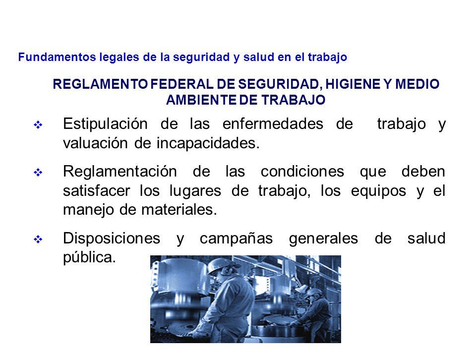 19 REGLAMENTO FEDERAL DE SEGURIDAD, HIGIENE Y MEDIO AMBIENTE DE TRABAJO Titulo Primero Disposiciones generales y obligaciones de los patrones y trabajadores.