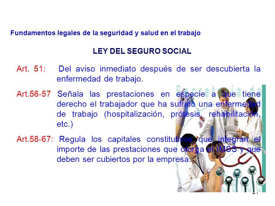 Estipulación de las enfermedades de trabajo y valuación de incapacidades.