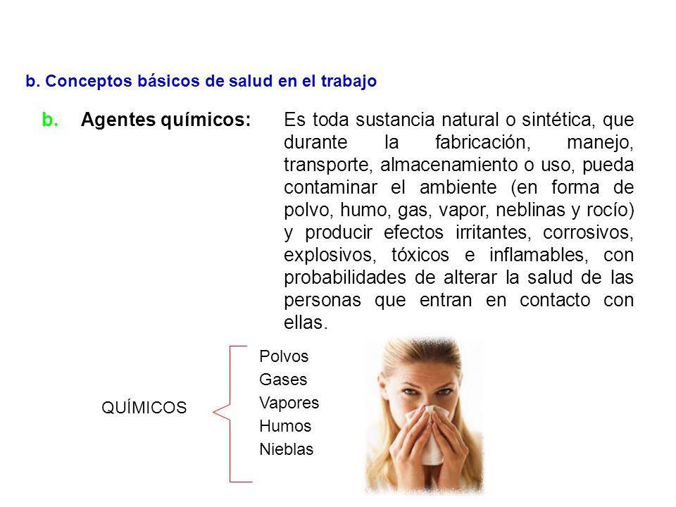 a.Agentes físicos:Es todo estado energético agresivo que tiene lugar en el medio ambiente. Los más notables, son los que se relacionan con ruido, vibr