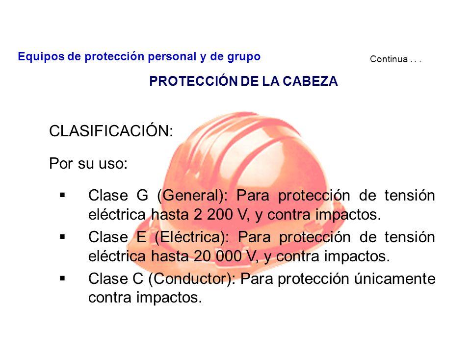 PROTECCIÓN DE LA CABEZA CASCO: Es un elemento protector que se ajusta a la cabeza para protegerla y básicamente se integra de las siguientes partes: C