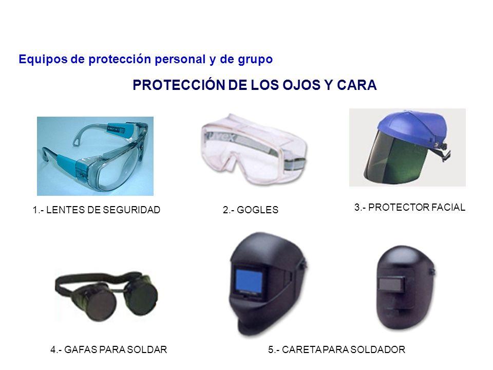 El uso de lentes de seguridad es obligatorio en todas las áreas, exceptuando oficinas y cuartos de control. Lineamiento: Antes de usar un protector de