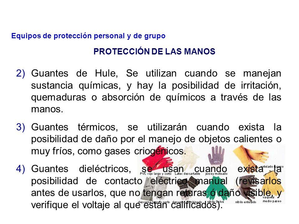 Es obligatorio el empleo de guantes de protección apropiados para todos los trabajos que presenten un riesgo de lesiones a las manos.