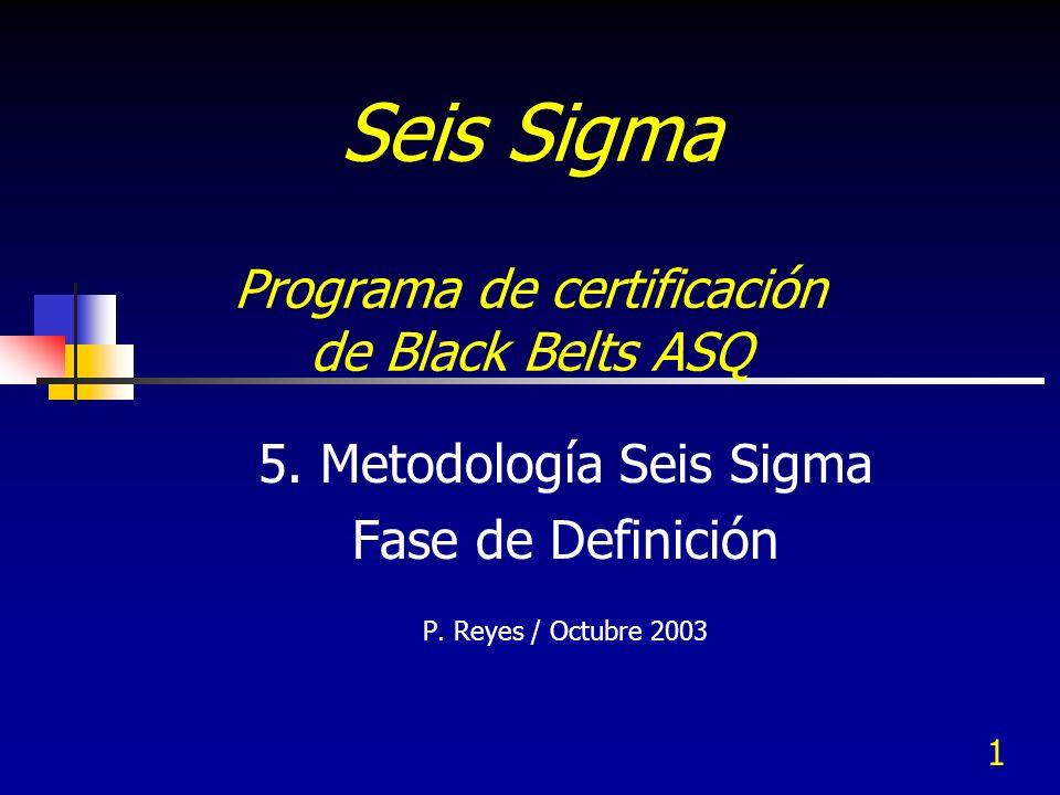 1 Seis Sigma Programa de certificación de Black Belts ASQ 5. Metodología Seis Sigma Fase de Definición P. Reyes / Octubre 2003