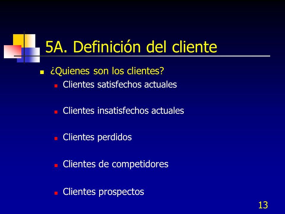 13 5A. Definición del cliente ¿Quienes son los clientes? Clientes satisfechos actuales Clientes insatisfechos actuales Clientes perdidos Clientes de c