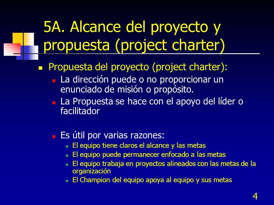 4 5A. Alcance del proyecto y propuesta (project charter) Propuesta del proyecto (project charter): La dirección puede o no proporcionar un enunciado d
