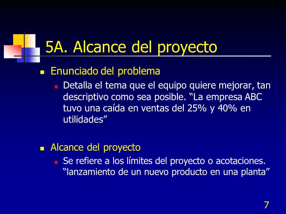 7 5A. Alcance del proyecto Enunciado del problema Detalla el tema que el equipo quiere mejorar, tan descriptivo como sea posible. La empresa ABC tuvo