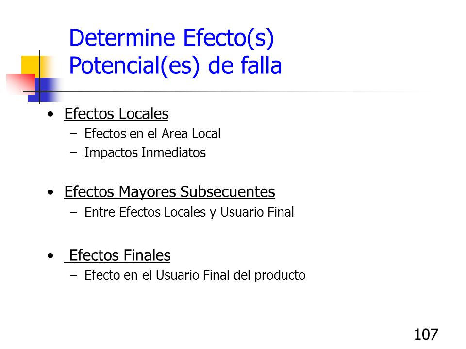 107 Determine Efecto(s) Potencial(es) de falla Efectos Locales –Efectos en el Area Local –Impactos Inmediatos Efectos Mayores Subsecuentes –Entre Efec