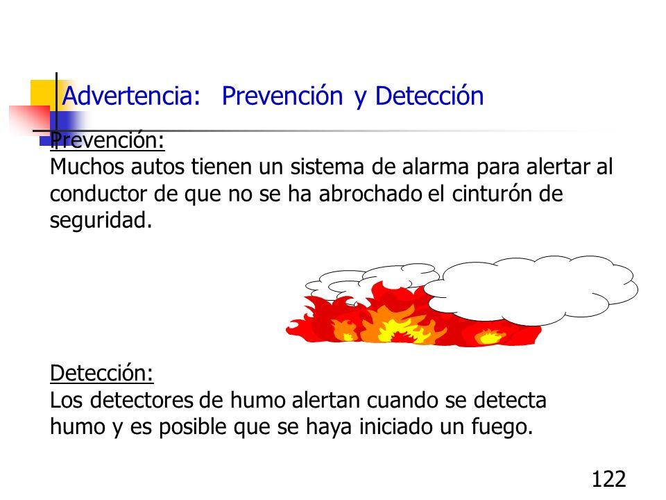 122 Advertencia: Prevención y Detección Prevención: Muchos autos tienen un sistema de alarma para alertar al conductor de que no se ha abrochado el ci