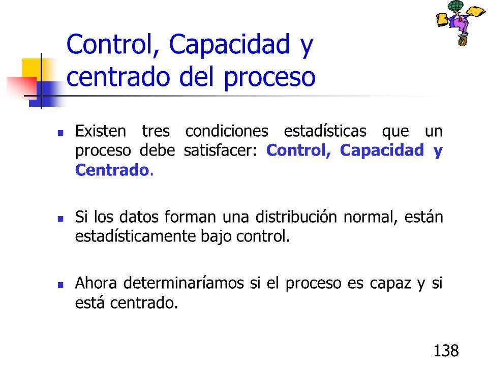 138 Control, Capacidad y centrado del proceso Existen tres condiciones estadísticas que un proceso debe satisfacer: Control, Capacidad y Centrado. Si