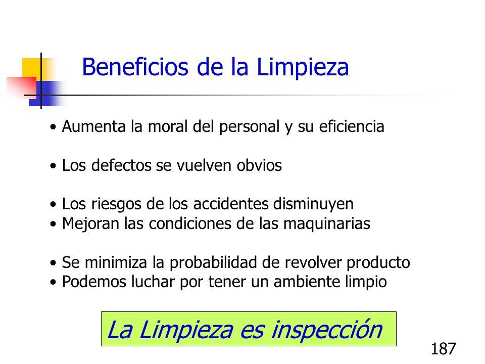 187 Aumenta la moral del personal y su eficiencia Los defectos se vuelven obvios Los riesgos de los accidentes disminuyen Mejoran las condiciones de l