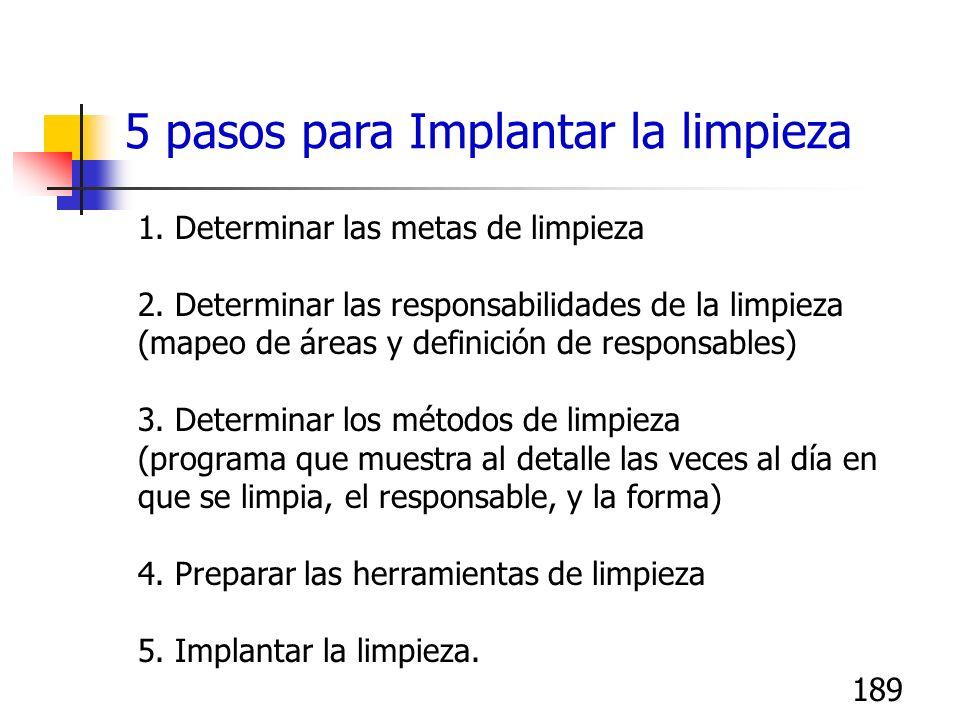 189 1. Determinar las metas de limpieza 2. Determinar las responsabilidades de la limpieza (mapeo de áreas y definición de responsables) 3. Determinar