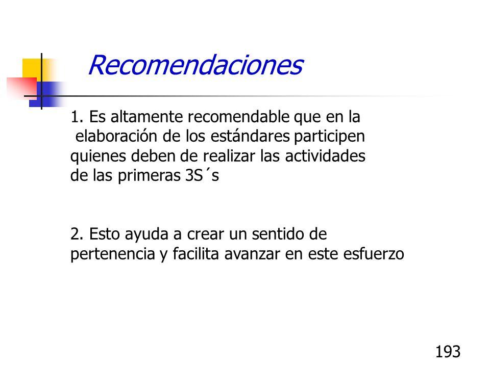 193 1. Es altamente recomendable que en la elaboración de los estándares participen quienes deben de realizar las actividades de las primeras 3S´s 2.