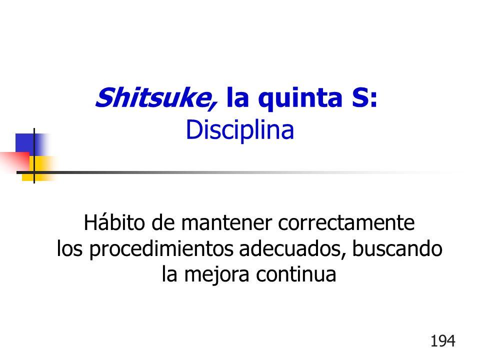 194 Hábito de mantener correctamente los procedimientos adecuados, buscando la mejora continua Shitsuke, la quinta S: Disciplina