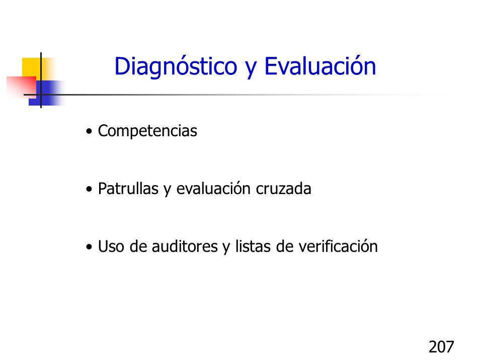 207 Competencias Patrullas y evaluación cruzada Uso de auditores y listas de verificación Diagnóstico y Evaluación